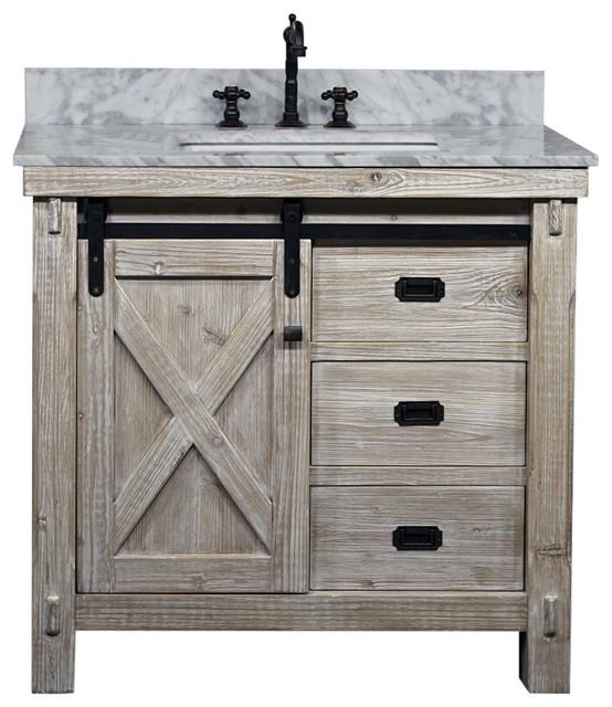 """37"""" Rustic Solid Fir Barn Door Style Single Sink Vanity Arctic ."""