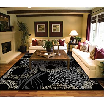 Amazon.com: Luxury Modern Rugs for Living Dining Room Black Cream .