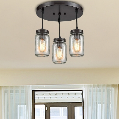 Mason Jar Ceiling Light Fixtures Contemporary Glass 3 Lights Semi .