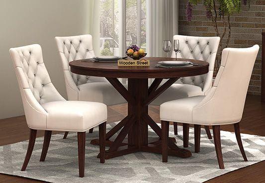 Ashford 4 Seater Dining Table Set (Walnut Finish) | 4 seater .