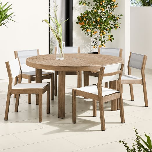 "Portside Outdoor 60"" Round Dining Table & 6 Textilene Chairs S"