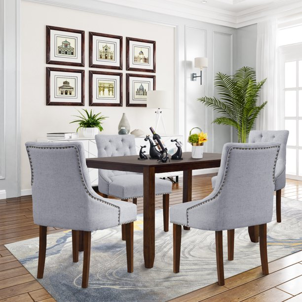 Dining Room Chairs Set of 6, Tufted Upholstered Dining Chairs with .