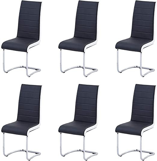 Amazon.com - Modern Dining Chairs Set of 6, Black White Side .