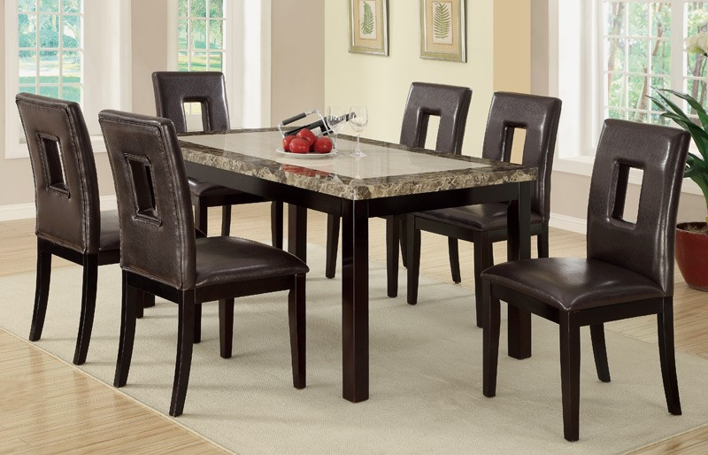 7pc Stockton Faux Marble Top + 6 Chairs Dining Table S