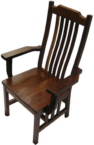 Walnut Mission Dining Room Chair, With Ar