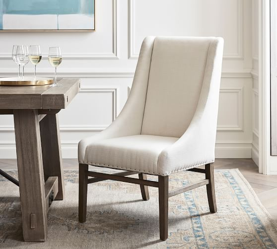 Milan Slope Upholstered Dining Armchair | Pottery Ba