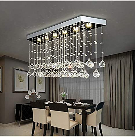 "Moooni L40"" Contemporary Rectangle Crystal Chandelier Modern ."