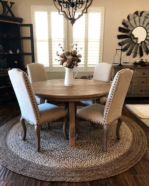Great rug idea for dining area. Comes in 6 or 8', dark or light .