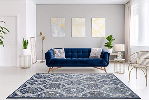 Amazon.com: Navy Blue Area Rugs 8 x 10 by LOOM&WEAVE for Living .