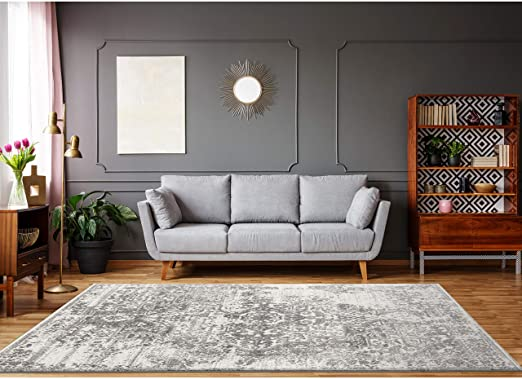 Amazon.com: Cream Grey Area Rugs 8 x 10 by LOOM&WEAVE for Living .