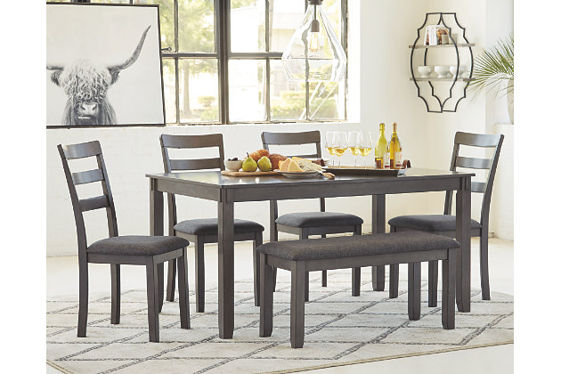 Bridson Dining Table and Chairs with Bench (Set of 6) | Ashley .