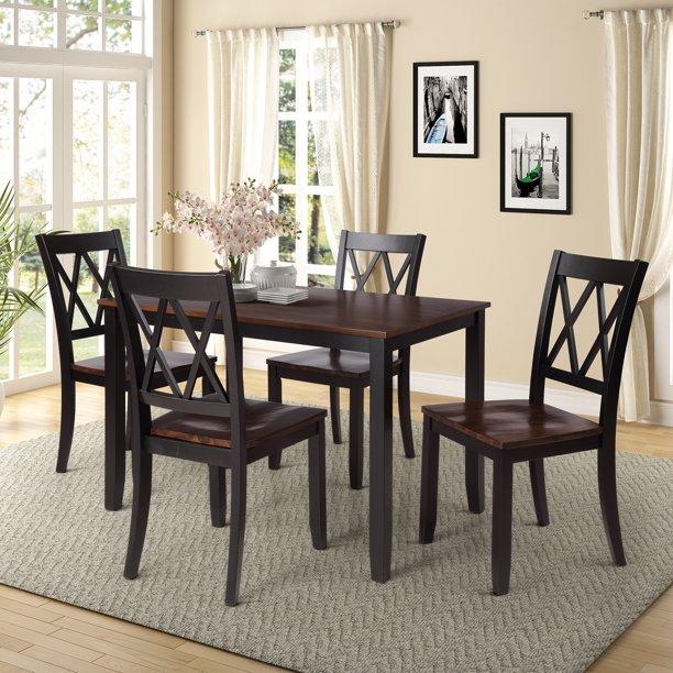 Clearance!Black Dining Table Set for 4, Modern 5 Piece Dining Room .
