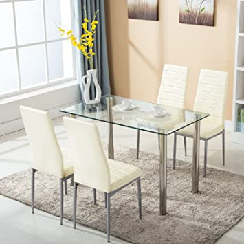 Amazon.com - Mecor 5 Piece Dining Table Set Tempered Glass Top .