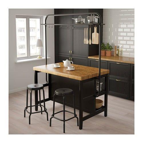 VADHOLMA Îlot de cuisine avec casier, noir, chêne - IKEA in 2020 .