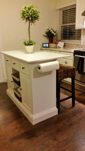 DIY farmhouse style kitchen island with seating for a small .
