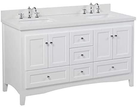 Amazon.com: Abbey 60-inch Double Bathroom Vanity (Quartz/White .