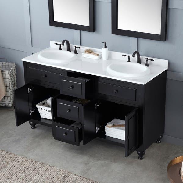 Shop OVE Decors Kensington 60 in Black Double Sink Bathroom Vanity .