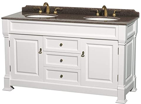Andover 60 Inch Double Bathroom Vanity in White, Imperial Brown .