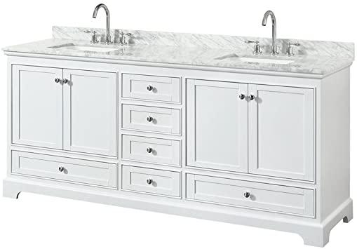 Wyndham Collection Deborah 80 inch Double Bathroom Vanity in White .
