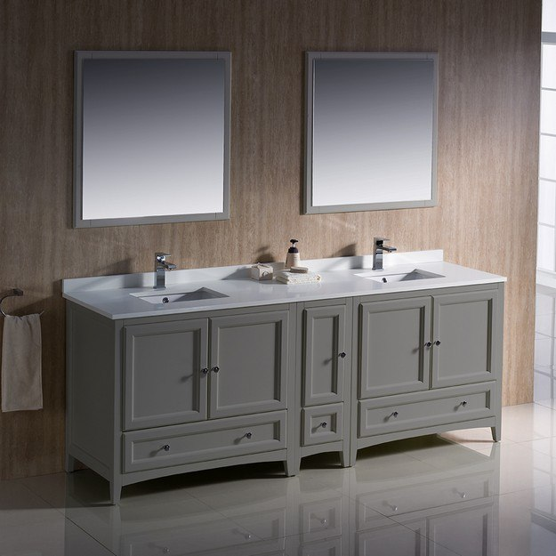 FVN20-361236GR Oxford 84 Inch Gray Traditional Double Sink .