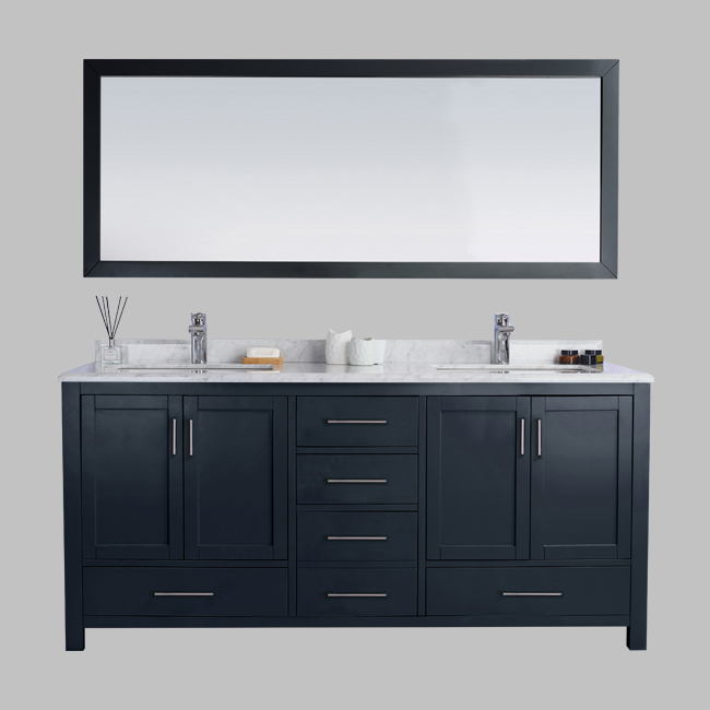 """72"""" Carmela Grey - Carrera Countertop - Double Sink Bathroom ."""