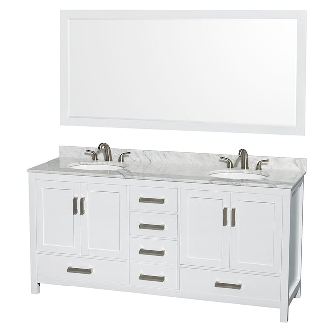 Wyndham Collection Sheffield 72-in White Double Sink Bathroom .