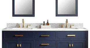 """72"""" Monarch Blue Double Sink Bathroom Vanity - Contemporary ."""