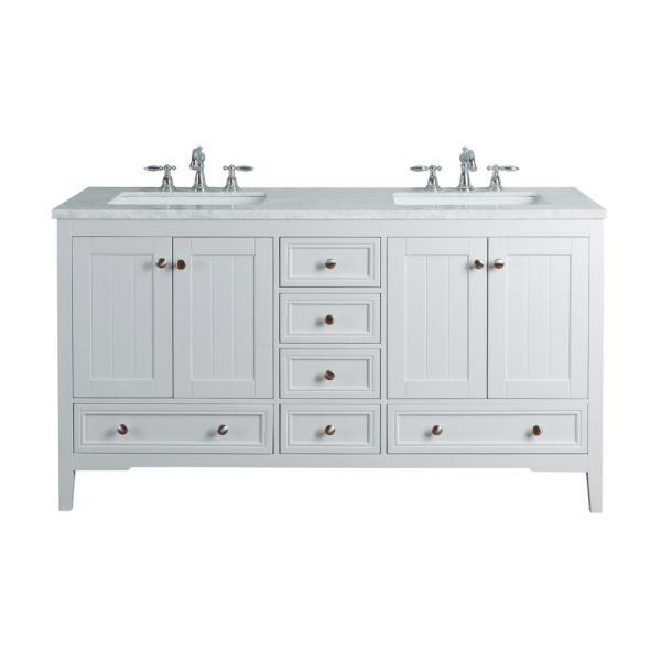 stufurhome New Yorker 60 in. White Double Sink Bathroom Vanity .