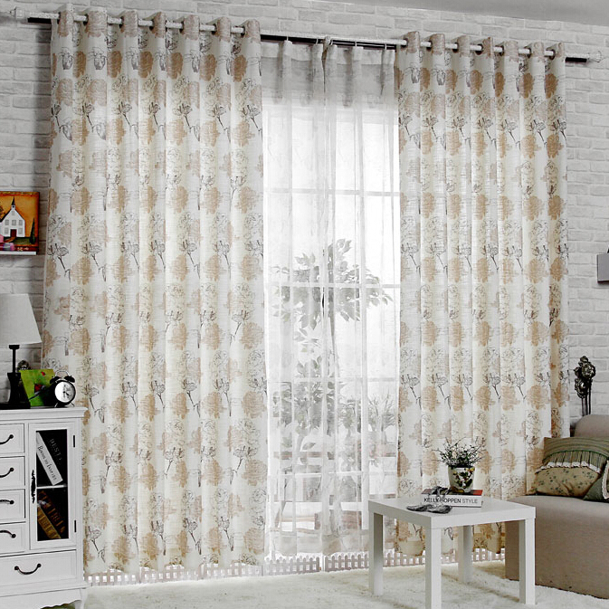 Romantic Rose Printed Pattern Elegant Living Room Curta