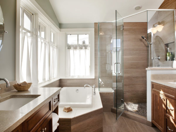 Extraordinary Charm Wood Tile Bathroom