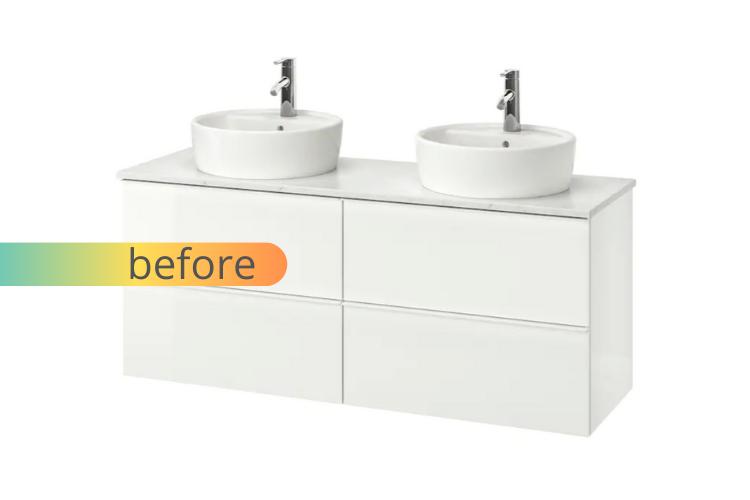 IKEA bathroom vanity gets a luxurious live edge upgrade - IKEA Hacke