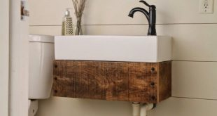 Remodelaholic | Reclaimed Wood Floating Vanity | Floating bathroom .