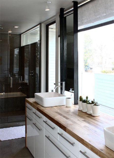 double vanity, bathroom, butcher block, frameless shower, Ikea .
