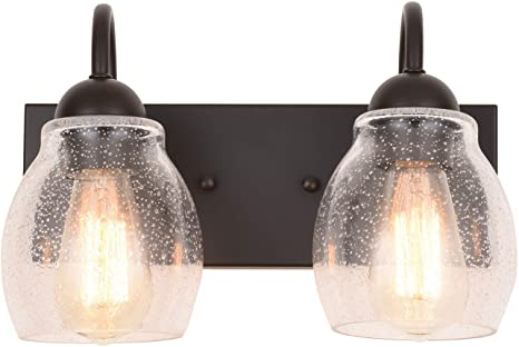 """ALICE HOUSE 13"""" Vanity Lights with Seeded Glass, 2 Light Wall ."""