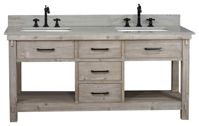 "72""Rustic Solid Fir Double Sink Vanity, Driftwood - Farmhouse ."