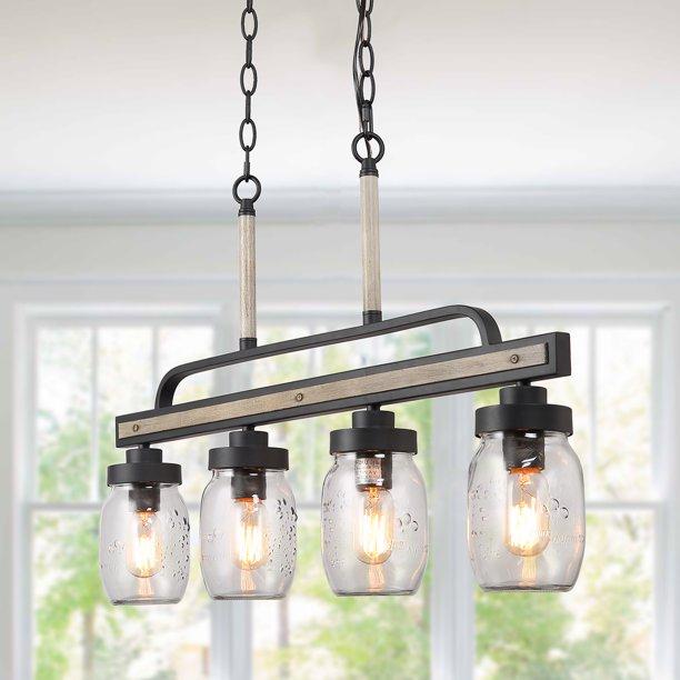 LNC Mason Jar Pendant Light for Indoor Home Decro,4-Light .