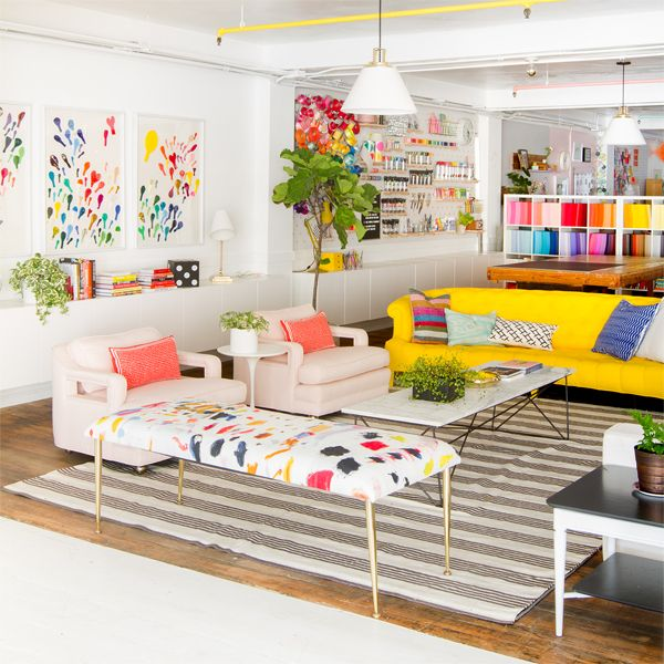 Oh Happy Day Studio Tour: Living Room | Colorful living room .