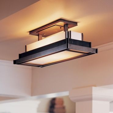 Steppe Rectangle Semi Flush Ceiling Light by Hubbardton Forge .