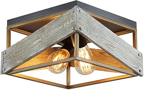 Amazon.com: Modern Farmhouse Flush Mount Light Fixture Two-Light .