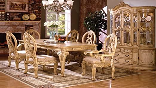 Amazon.com: 7 pc Tuscany III antique white finish wood elegant .