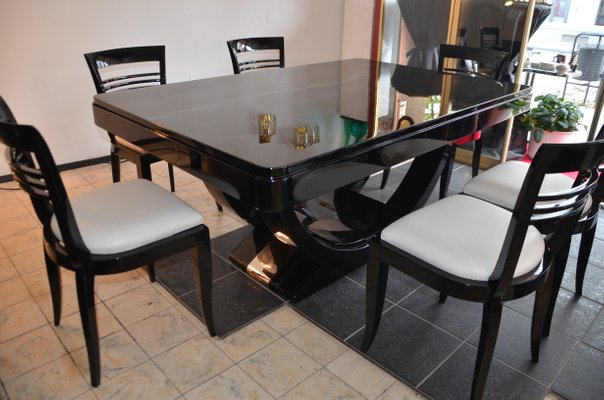 Art Deco Piano Black Dining Table & Chairs Set, 1930s for sale at .