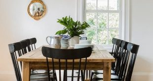 Farmhouse Dining Table with Black Salt Chairs - Cottage - Dining .