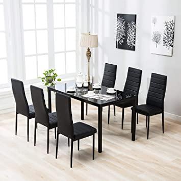 Amazon.com - Mecor 7 Piece Glass Kitchen Dining Table Set, Glass .