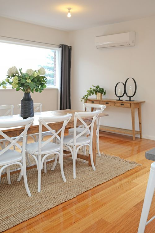 Contemporary dining, family home, polished floorboards, timber .
