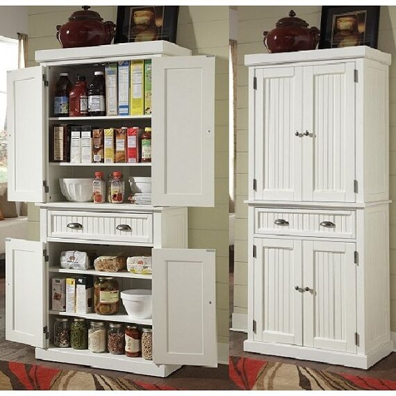 Tall Kitchen Pantry Storage Cabinet Utility Closet Distressed .