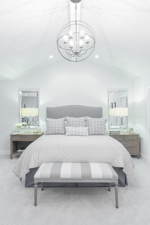 Gray Camelback Headboard with Striped Gray Bedroom Bench .