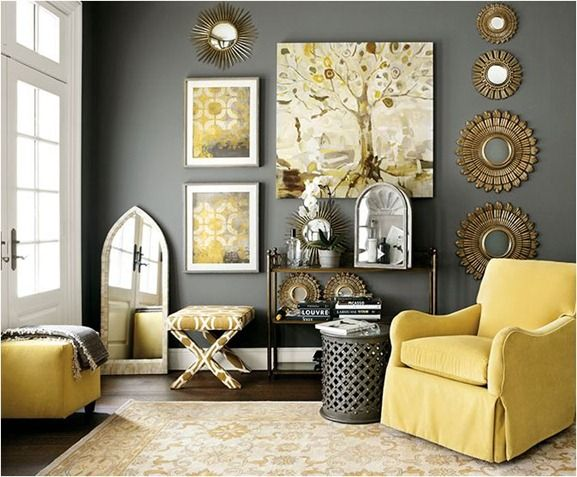 Love the yellow and gray color scheme, maybe white and gray .