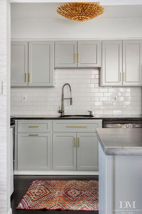 Gold and Gray Kitchen with Steel Countertops - Contemporary .