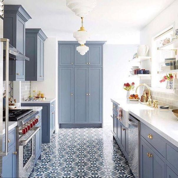 wolf gray kitchen cabinets | Blue kitchen designs, Blue kitchen .