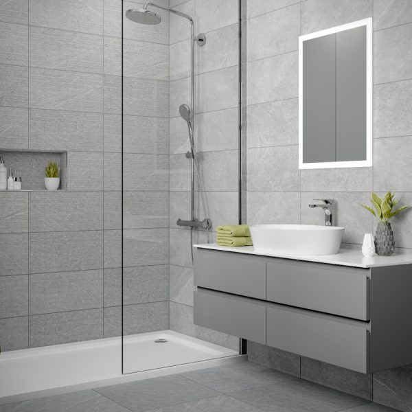 Dominican Grey Wall Bathroom Tiles 250 x 500mm Per B
